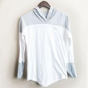 Puma T-Shirt Hoodie Gray White  Like New Condition